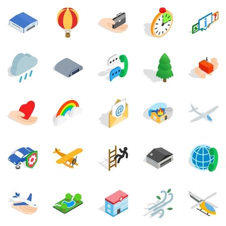 Light aviation icons set. Isometric set of 25 light aviation vector icons for web isolated on white background Illustration