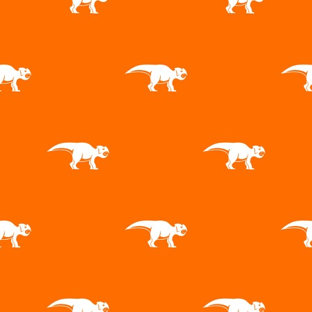 Ceratopsians dinosaur pattern repeat seamless in orange color for any design. Vector geometric illustration