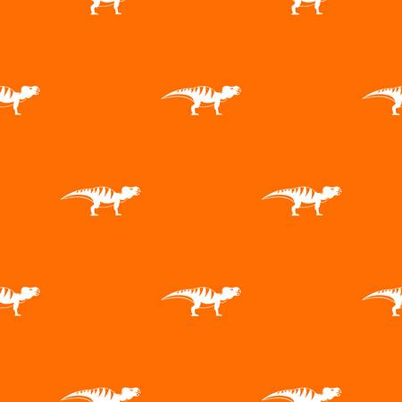 Hadrosaurid dinosaur pattern repeat seamless in orange color for any design. Vector geometric illustration