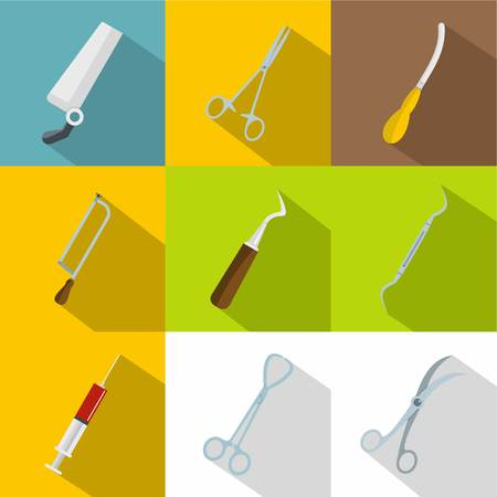Medical equipment icons set. Flat set of 9 medical equipment vector icons for web with long shadow Illustration