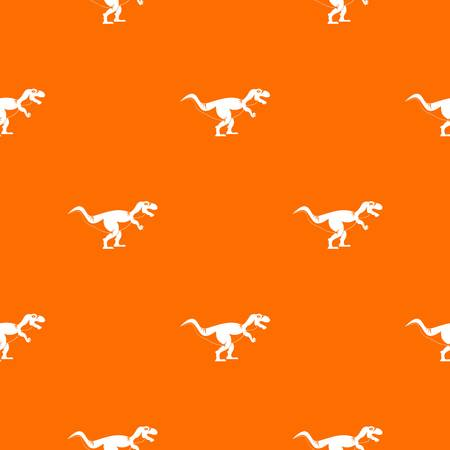 Tyrannosaur dinosaur pattern repeat seamless in orange color for any design. Vector geometric illustration