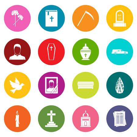 Funeral icons many colors set isolated on white for digital marketing Illustration