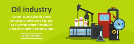Oil industry banner horizontal concept. Flat illustration of oil industry banner horizontal vector concept for web