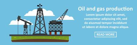 depot: Oil and gas production banner horizontal concept. Flat illustration of oil and gas production banner horizontal vector concept for web Illustration