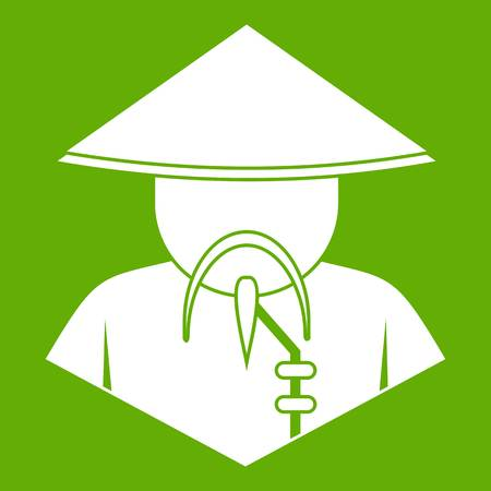 Asian man in conical hat icon white isolated on green background. Vector illustration