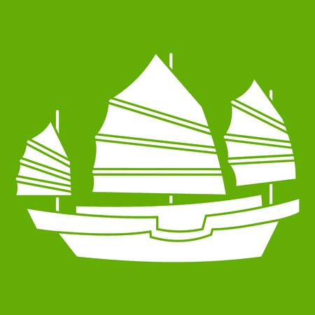 Junk boat icon green