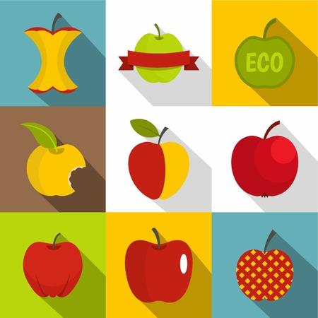 Apple icons set, flat style