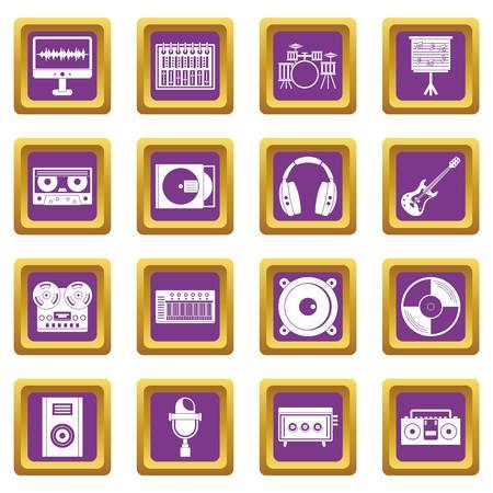 Recording studio items icons set purple Illustration