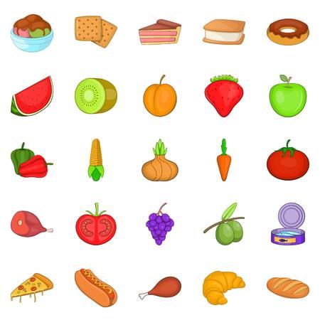 Hot dog icons set, cartoon style