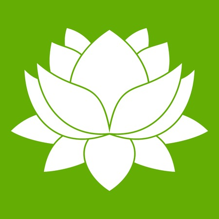 Water lily flower icon green Çizim