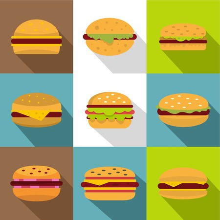 Burger icons set, flat style Illustration