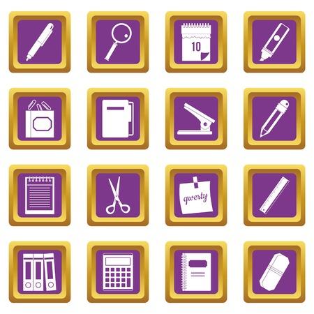 Stationery symbols icons set purple