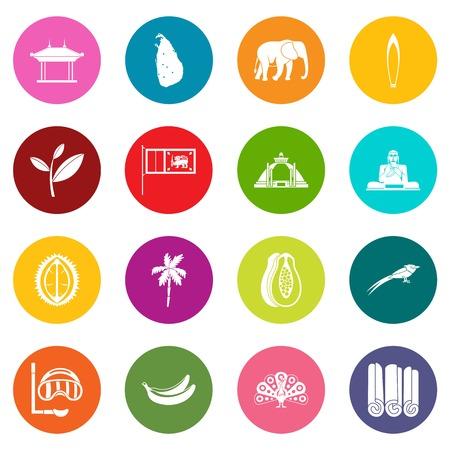 Sri Lanka travel icons many colors set