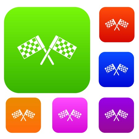 Crossed chequered flags set collection