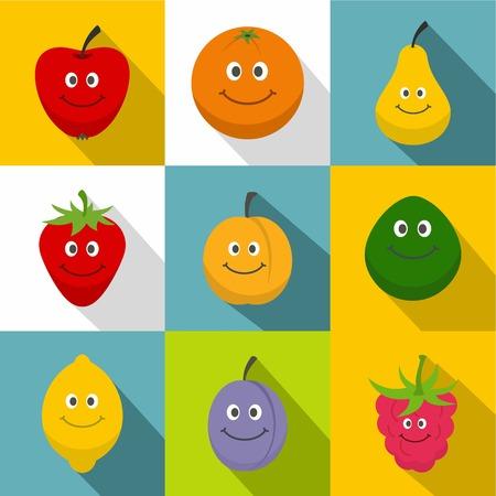 Healthy fruit icons set, flat style Illustration