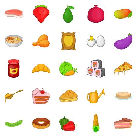 ration: Serving icons set, cartoon style