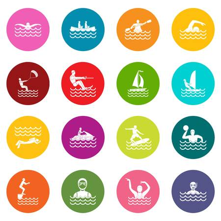 Water sport icons many colors set Illustration