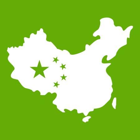 Map of China icon green Illustration