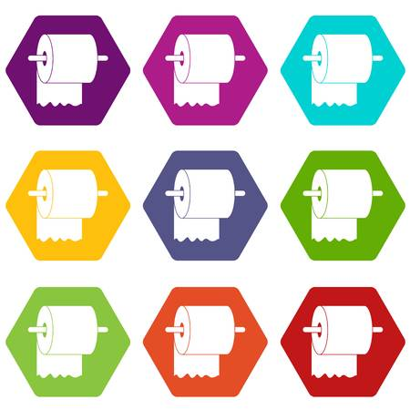 Roll of toilet paper on holder icon set color hexahedron