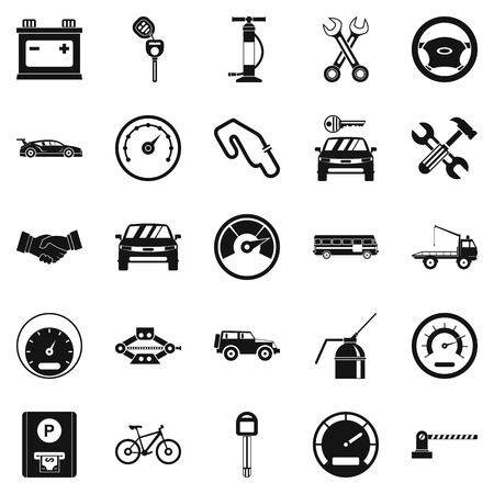 Car parking icons set, simple style Vectores