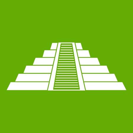 Ziggurat in Chichen Itza icon green 向量圖像