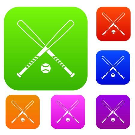 Crossed baseball bats and ball set collection Illustration