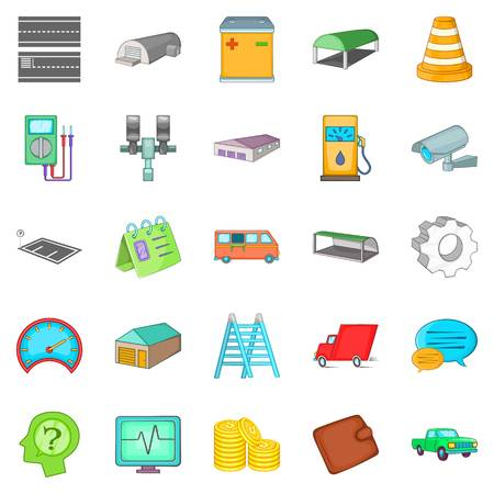 forwarding: Repository icons set, cartoon style Illustration