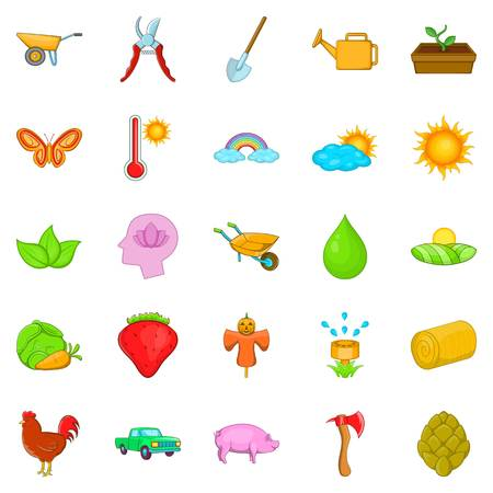 Harvest icons set, cartoon style