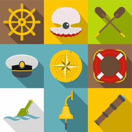 Sea adventure icons set, flat style Illustration