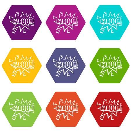 Kaboom, explosion icon set color hexahedron