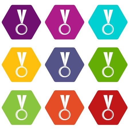 Medal icon set color hexahedron