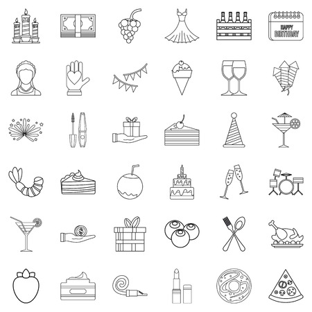 champagne celebration: Party cocktail icons set, outline style