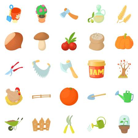 Garden tillage icons set, cartoon style Illustration