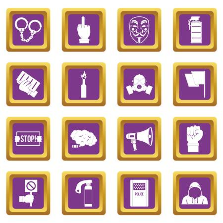 social gathering: Protest icons set purple Illustration