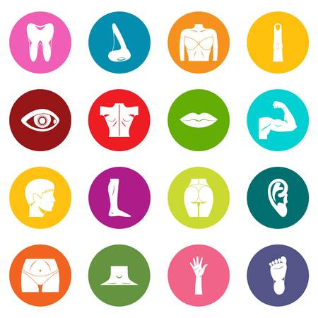 Body parts icons many colors set