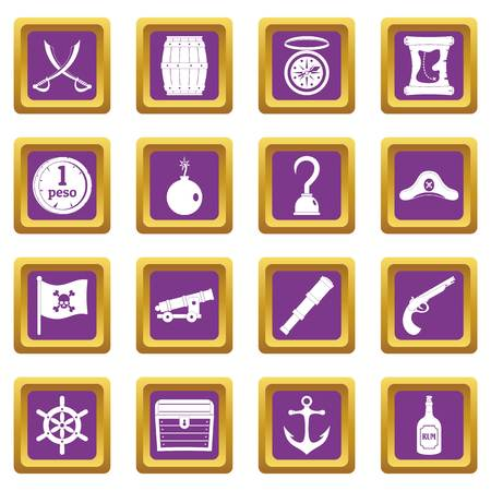 cocked hat: Pirate icons set purple Illustration