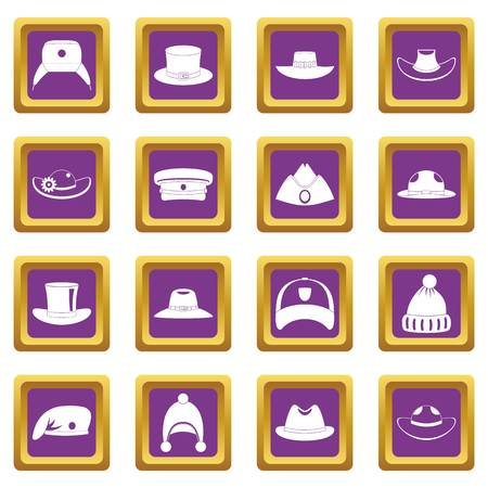 Headdress hat icons set purple