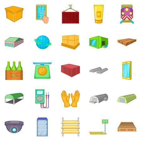 Reserva iconos conjunto, estilo de dibujos animados