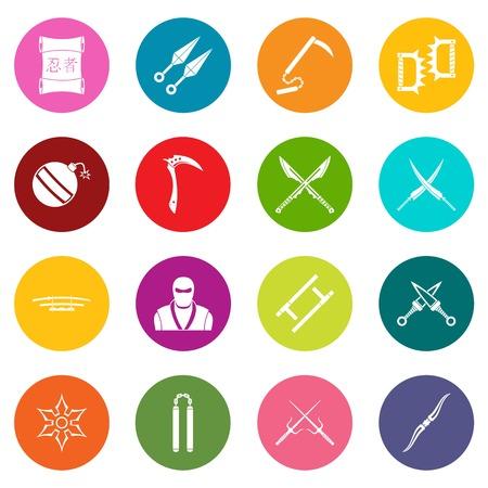 Ninja tools icons many colors set