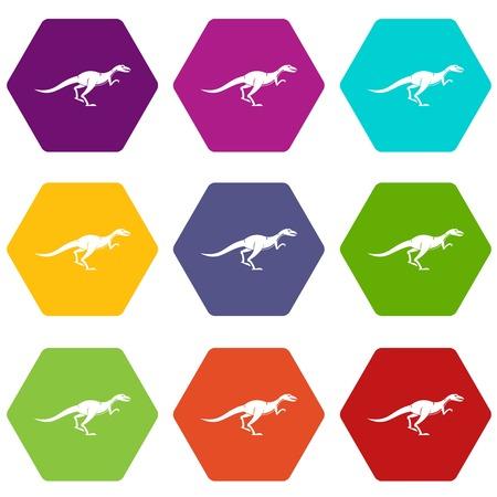 Velyciraptor icon set color hexahedron