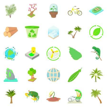 Palm icons set, cartoon style