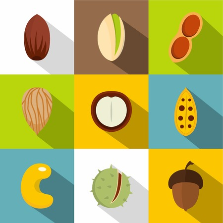 Mix of different nuts icons set, flat style