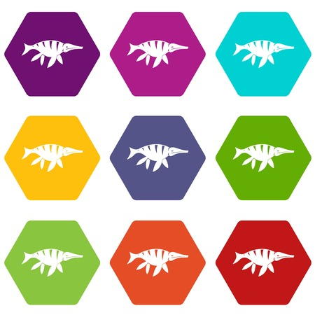 Aquatic dinosaur icon set color hexahedron