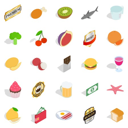 grocery shelves: Greengrocery icons set, isometric style