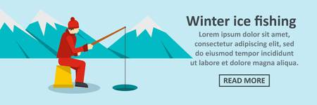 Winter ice fishing banner horizontal concept vector illustration. Illustration