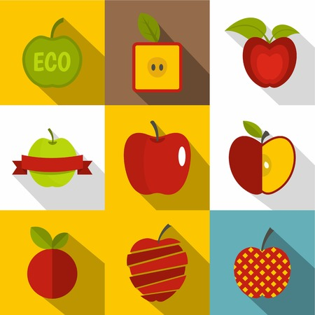Creative apple icons set, flat style vector illustration.