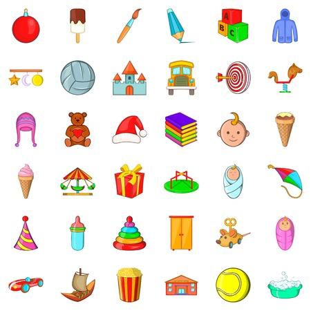 gift basket: Pyramid icons set, cartoon style