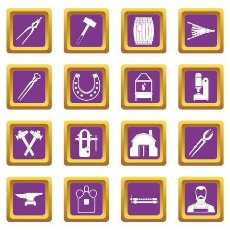 Blacksmith icons set purple Illustration