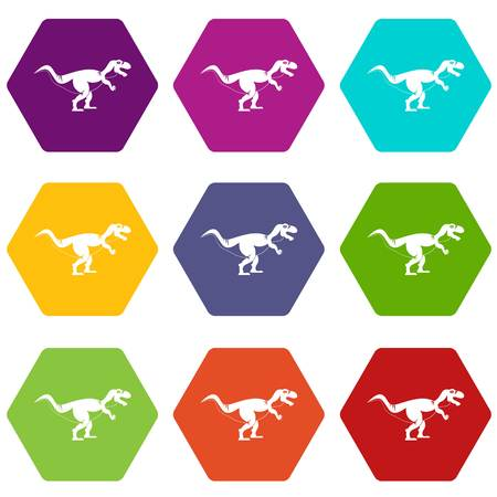 Tyrannosaur dinosaur icon set color hexahedron
