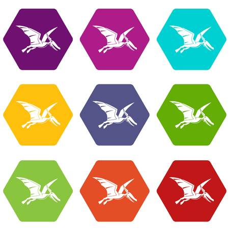Pterosaurs dinosaur icon set color hexahedron